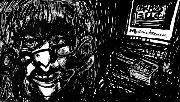 """Image: a dimly lit, black and white cartoon of a slender, 60-year old woman with blonde hair, wearing a headset. A computer workstation is seen in the background, dog treats on the desk. Text on computer monitor: """"CRASS LLC"""""""