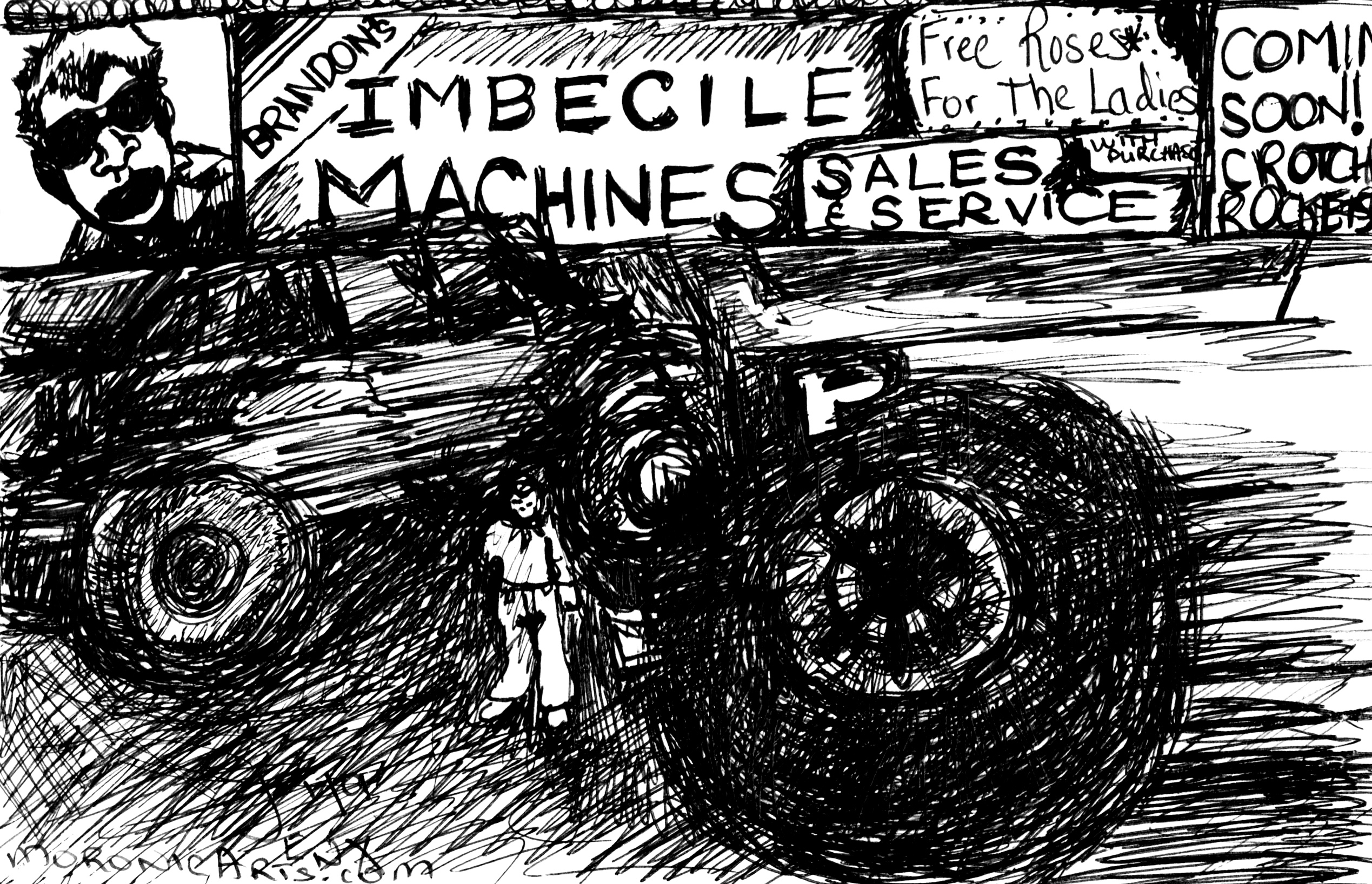 "Black-and-white cartoon of a man standing at a used car lot, next to oversized, lifted trucks with extra large wheels. A sign in the background reads: ""Brandon's Imbecile Machines. Free Roses For the Ladies. Coming Soon: Crotch Rockets."""