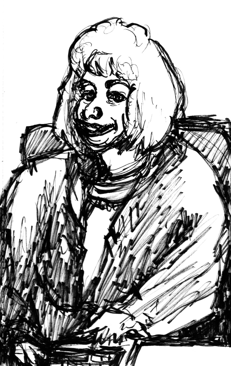 This is a black-and-white cartoon of a heavy-set blonde woman sitting in an office.