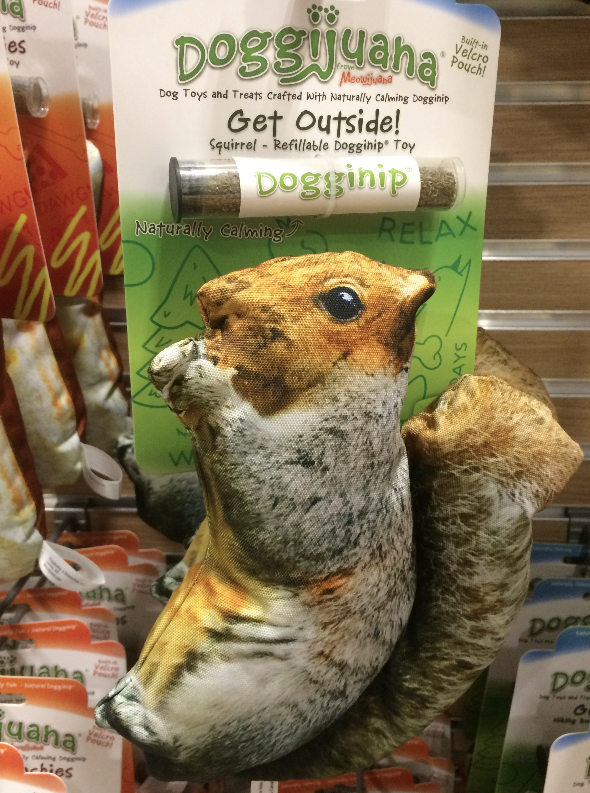 "A colour photograph of a squirrel-shaped dog toy. Text reads: ""Dog toys and treats crafted with naturally calming doggnip""."