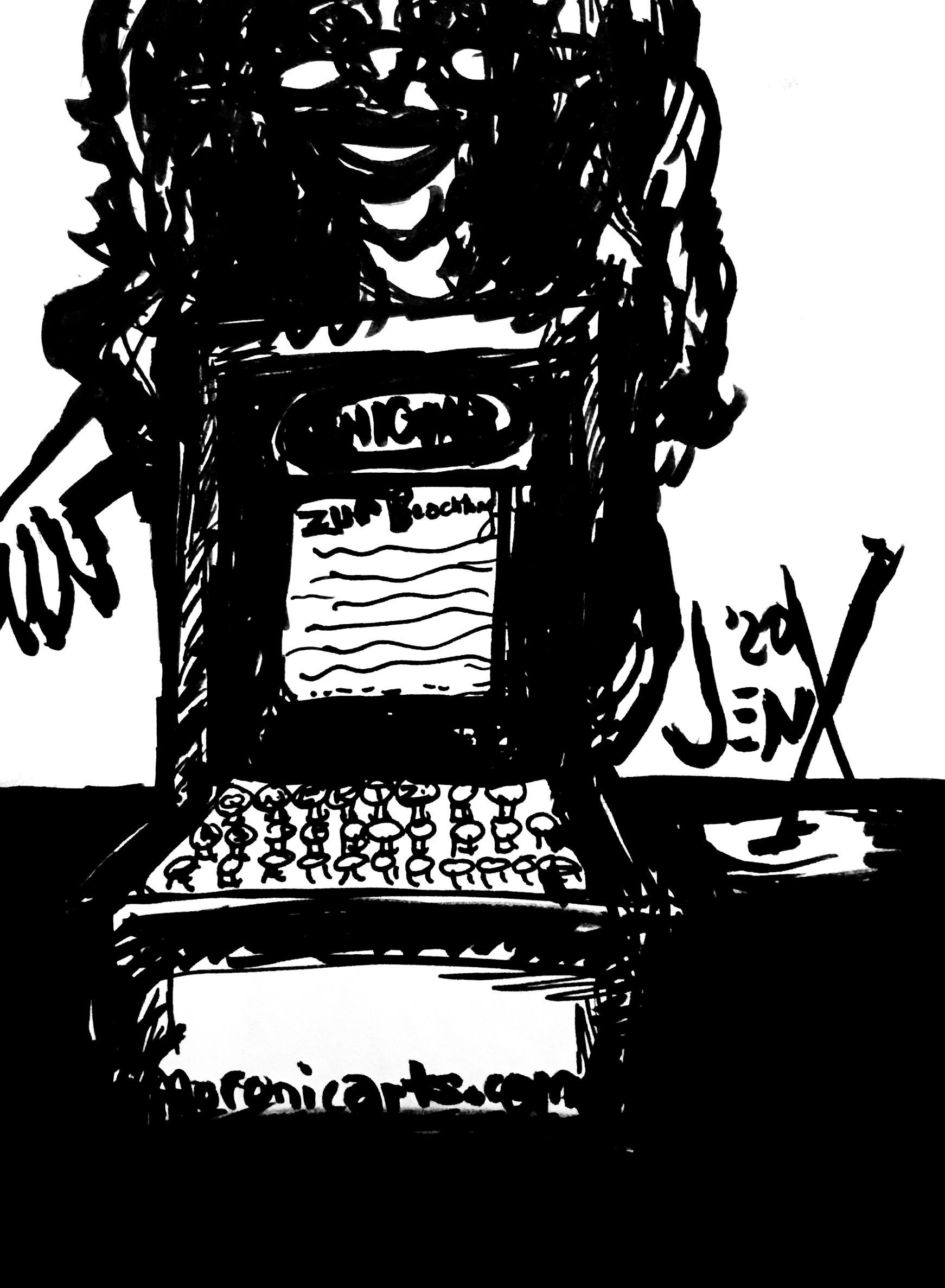 A black-and-white carton of a skinny blonde woman gesturing behind an Enigma Machine setting on a table.