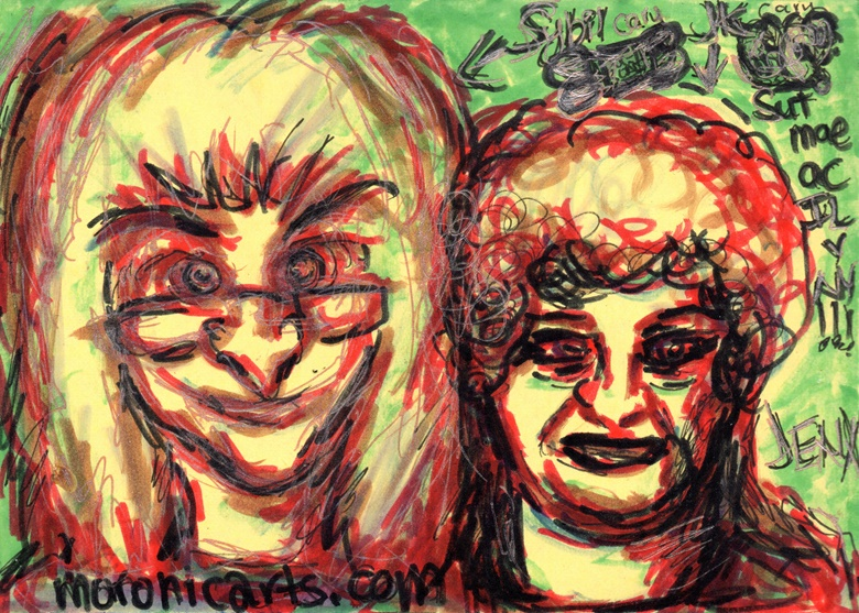 A colour drawing of a middle aged, blonde woman wearing glasses next to an elderly lady with short, curly hair. Text: Sut mae ac IL (Translation: how are you, from Illinois)