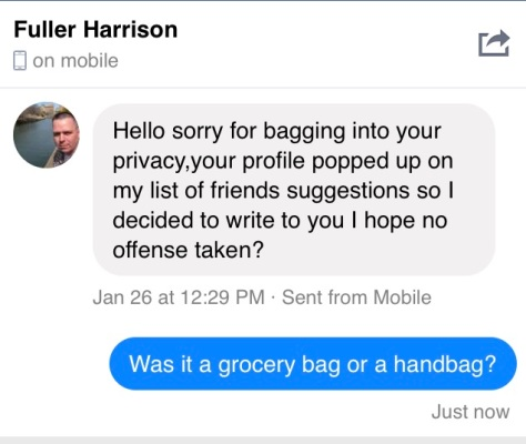 a screenshot of a facebook instant message from a stranger.