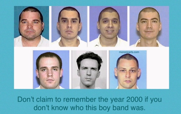 "A full-colour meme featuring The Texas Seven mugshots. Text: ""Don't claim to remember the year 2000 if you don't know who this biy band was."""