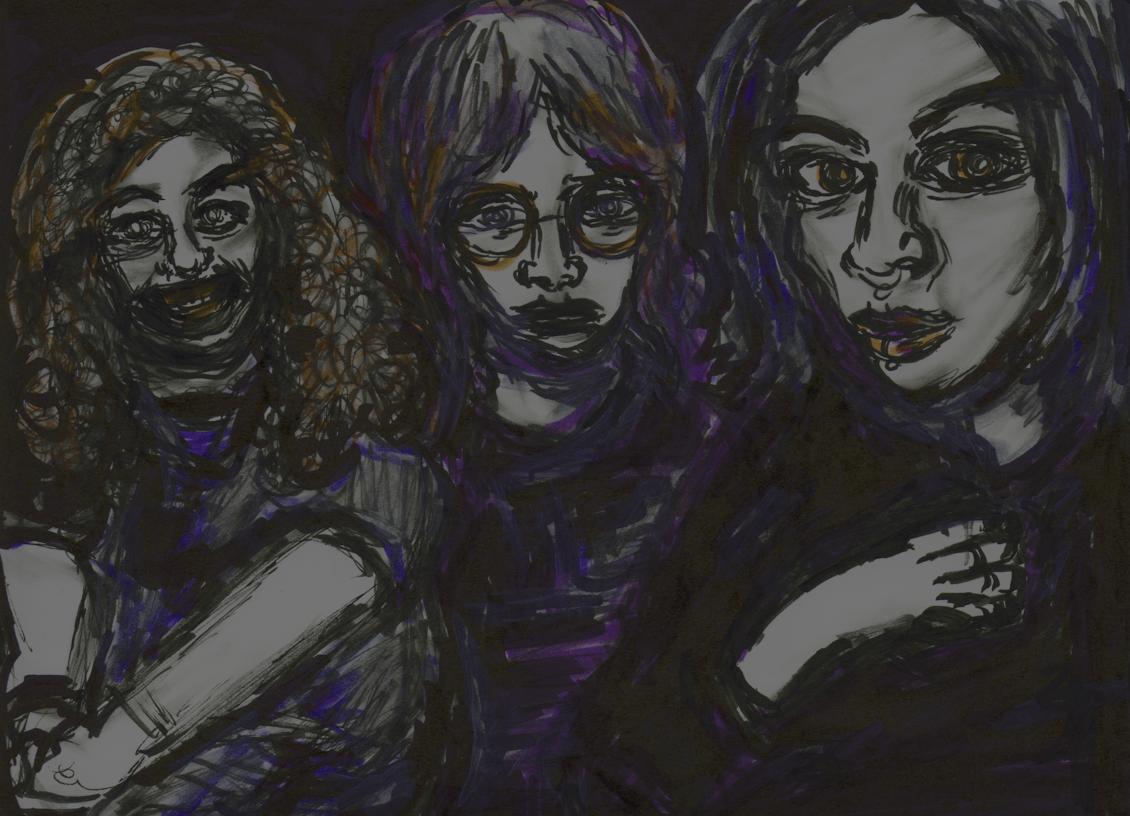 Image: dimly lit cartoon group of three students sitting down