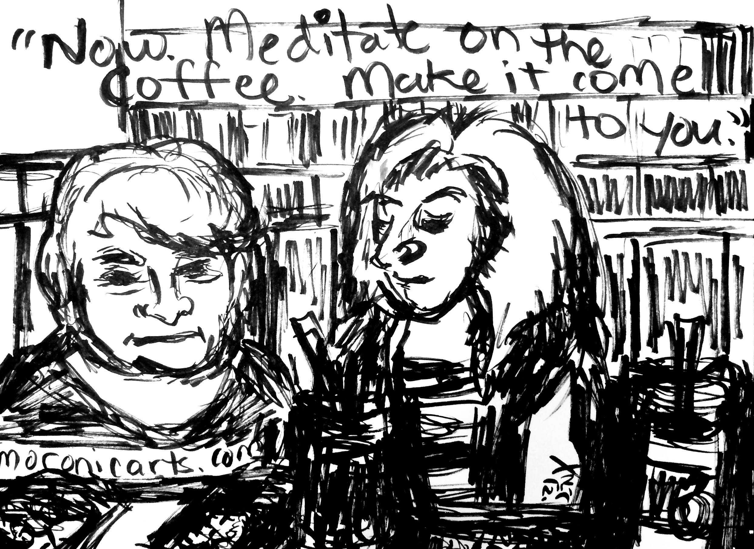 Image: black-and-white cartoon showing an older lady sitting next to a middle-aged blond woman relaxing at a bookstore-cafe.