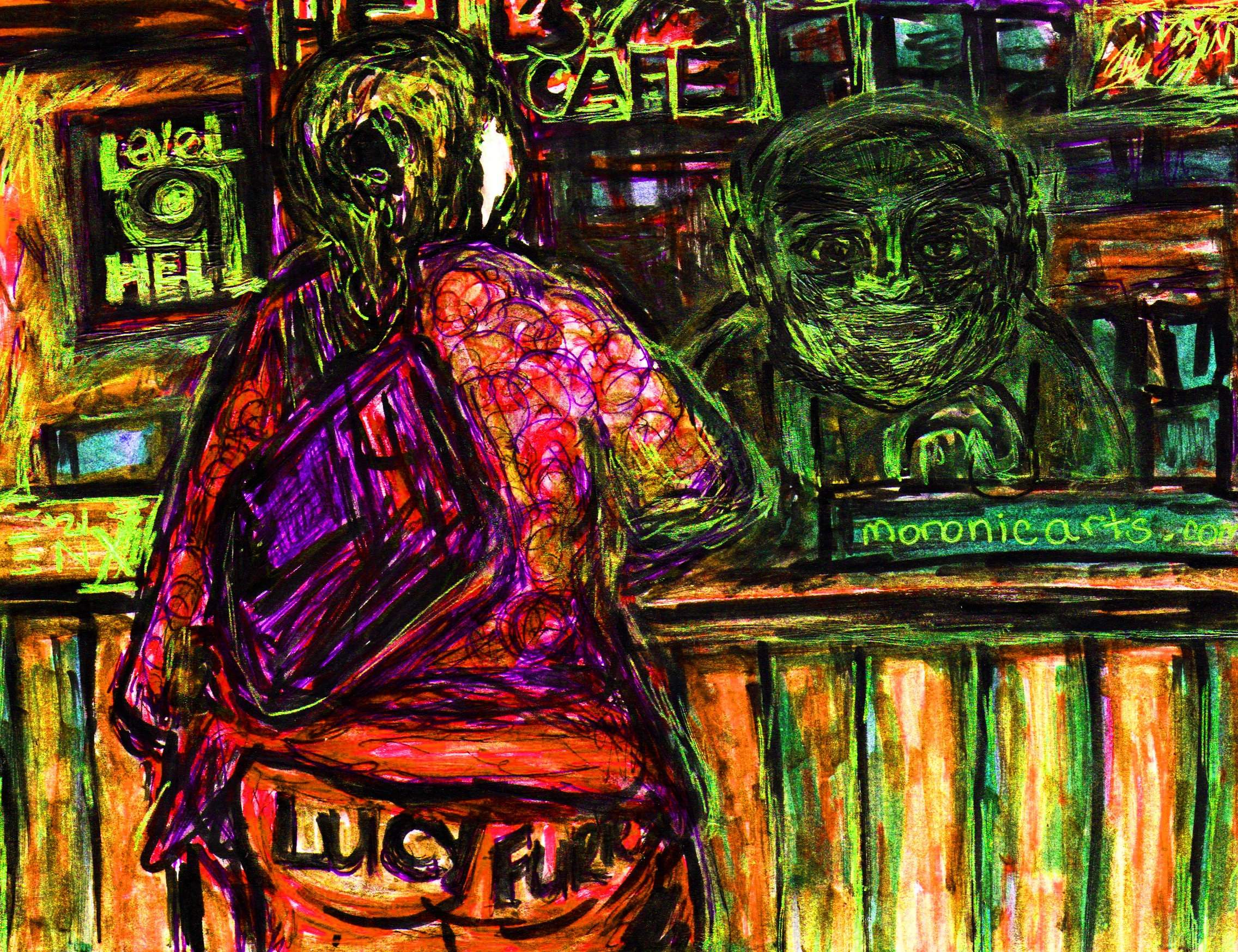 """Image: Full color cartoon of a coffeehouse. A large woman wearing a pink outfit can be seen in the foreground, and a green ogre behind the coffee bar. text reads """"Level 9 Hell. Hell's Cafe."""""""
