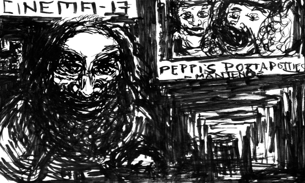 """Image: a black-and-white cartoon of a neckbeard behind a cinema counter. Text: """"Cinema-13"""" and """"Peppi's Portapotties."""""""