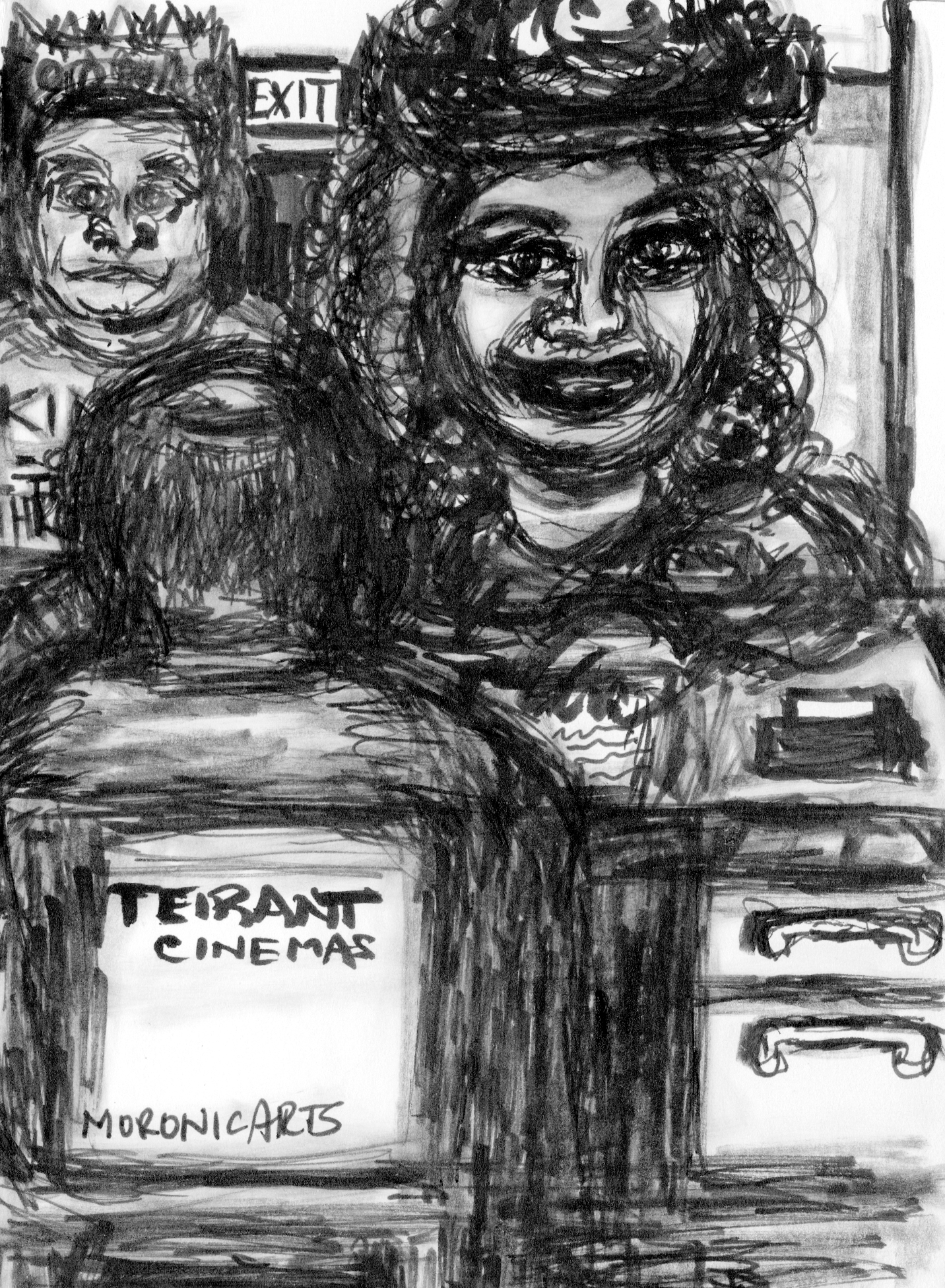 """Image: black-and-white cartoon set in an office. A man and a woman wearing crowns face a man sitting down on a chair with the text: """"Teirant Cinemas."""""""