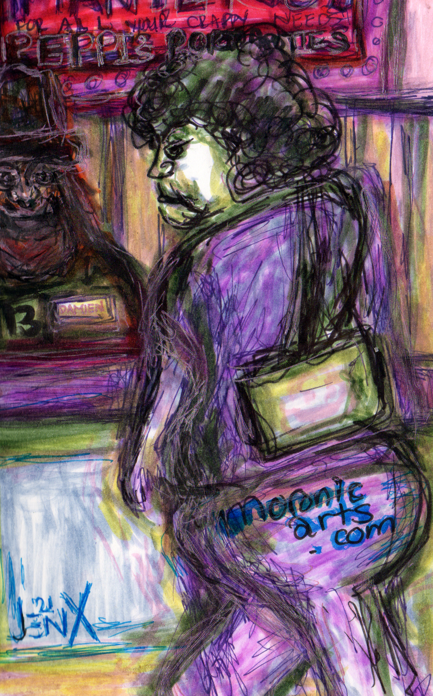 Image: a color cartoon of a heavy-set, middle-aged woman angrily walking past a concessions stand. A heavyset middle-aged man with an orange beard, wearing a black fedora is standing behind the counter, with the look of love in his eyes.