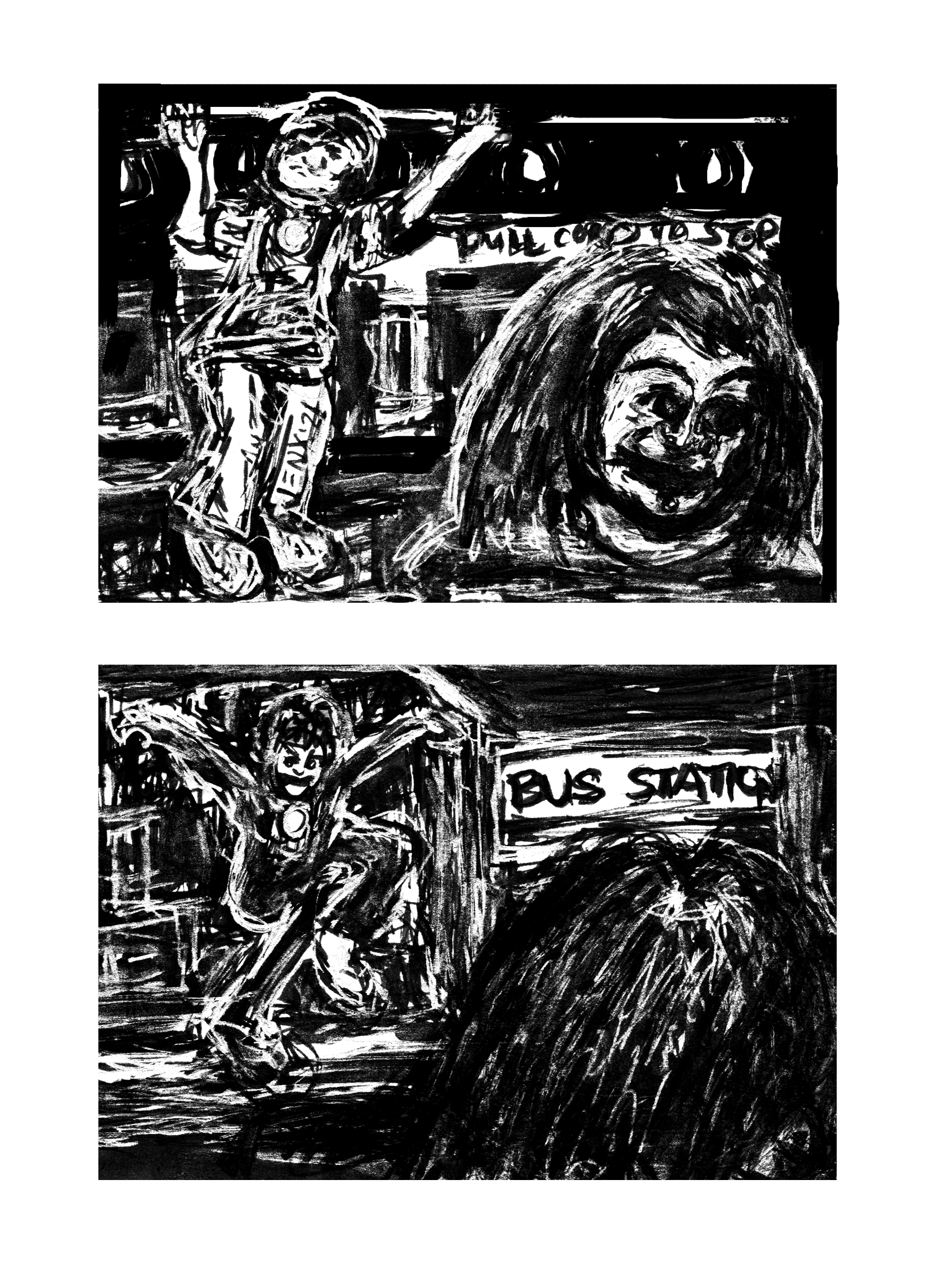 Image: two panel, black-and-white cartoon.  Panel 1: an Elvis impersonator does pull-ups on the bus as a gothic woman looks away. Panel 2: The Elvis impersonator dances at the bus station in the background, the gothic woman seen from behind in the foreground asleep.